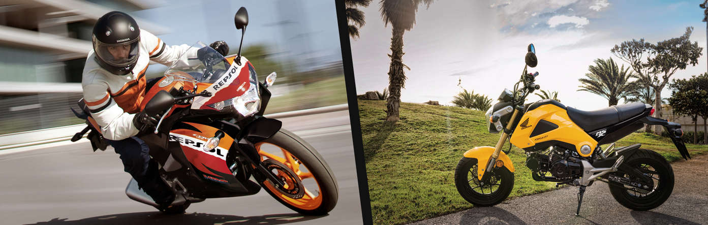 Split image showing a 3-quarter view of the Honda CBR125R with rider leaning into a bend on road location to the left, and the side view of a parked Honda msx125 on park location to the right.