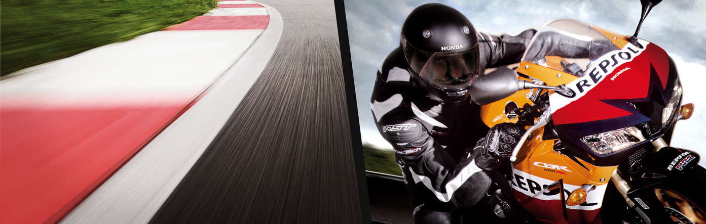 Split image showing a race track to the left and the front view of Honda CBR600RR with rider on the right.