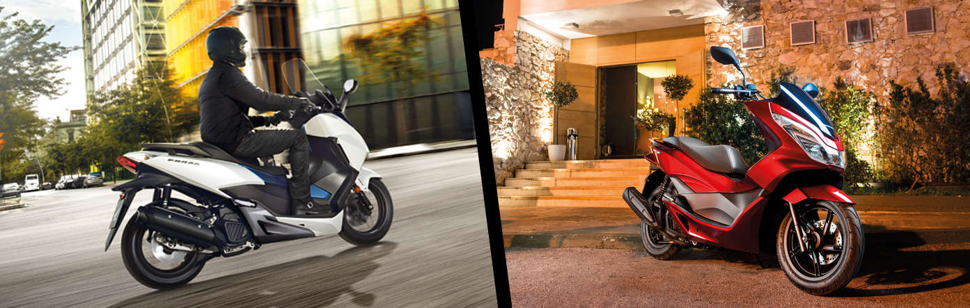 Split image showing parked honda vision scooter with a couple sitting beside it on an urban location to the left and a couple riding a Honda scooter to the right.